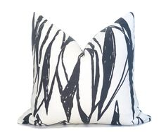 Deco Pillow Cover - Charcoal Gray and Off White - Brushstrokes Pillow - Paint Lines Pillow - Abstract - Charcoal Pillow - Neutral Pillow