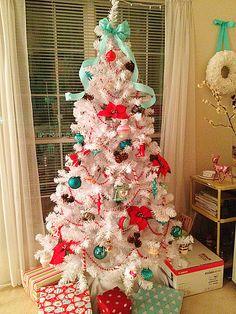 Aqua and Red Christmas tree #Blue #Red #Christmas #holiday #aqua #turquoise