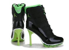 finest selection ea07a 99829 Black Green Air Jordan Heels For Women Shoes