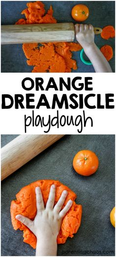 Playdough (aka Play-doh) is easy to make at home, and fun for kids of all ages. Here's how to make Homemade Orange Dreamsicle Playdough - it smells fantastic!