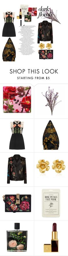 """dark floral"" by mimicu2 ❤ liked on Polyvore featuring Jo Malone, Abigail Ahern, Gucci, Gianvito Rossi, Etro, Jennifer Behr, Dolce&Gabbana, Kocostar, Nest Fragrances and Tom Ford"