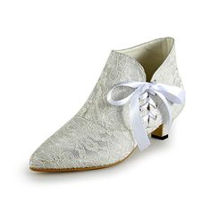 Miyoopark Women's Ribbon Kitten Heel Ivory Lace Bridal Wedding Ankle Boots Formal Party Evening Prom Shoes UK 6.5