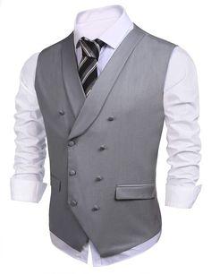 Coofandy Men Fashion Double-Breasted Casual Business Vest Waistcoat(Gray,M) Waistcoat Men, Mens Suit Vest, Mens Suits, Business Dresses, Business Outfits, Stylish Waistcoats, Mens Fashion Suits, Men's Fashion, Men's Clothing