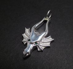 Dragon Head Pendant  Sterling Silver  Emerald Eyes by DansMagic