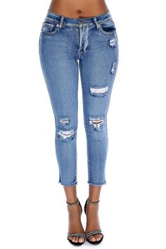 These jeans a must have for the fashion trend! Features; faded denim color, 4 button closure, belt loops, pockets, high waist, fringe hem, finished off with fitted wear. 88% Cotton 9% Polyester 3% Spandex.