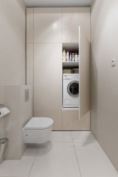 Small Bathroom-Laundry Ideas For Your Home Every family home needs a laundry room, but not all homes have enough space for one. Here's how you can incorporate them in small bathroom. Bathroom Layout, Bathroom Interior Design, Modern Bathroom, Master Bathrooms, Bathroom Small, Bathroom Designs, Bathroom Mirrors, Bathroom Cabinets, French Bathroom