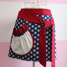 Red White and Blue Apron with Cute Patriotic Stars!