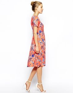 Enlarge ASOS Midi Skater Dress in Bird and Floral Print