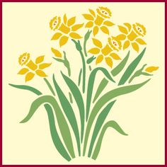 Daffodil stencil, Spring flowers, daffodil bulbs, Spring bouquet
