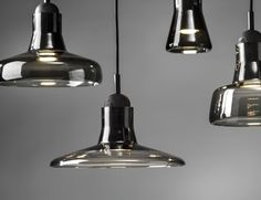 Solo PC896 Opaque Smoke Grey Shadows Pendant by Dan Yeffet and Lucie Koldova for Brokis $600-$700 each plus about $50 for pp Also in white glass, with blond wood