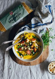 Creamy Saffron & Lemon Pasta with Halloumi, Asparagus & Slivered Almonds | Cashew Kitchen