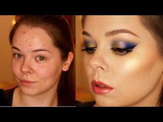 Carnival Blue Green Gold make up TUTORIAL || Nabla + Wycon || Acne skin ...