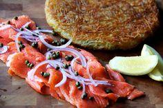 Potato Rosti with smoked salmon and creme fraiche