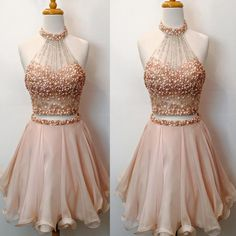 2017 Two Pieces Rhinestones Sparkly Pink Charming For Girls Cute homecoming Short prom dresses, CM0013