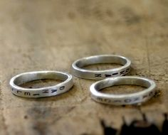Rings with baby names.