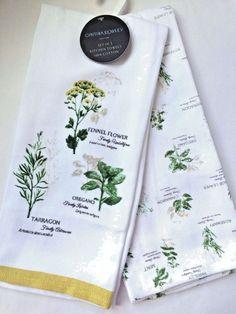 Cynthia Rowley KITCHEN TOWELS Set Of 2 HERBS Gourmet Oregano Cotton NEWu2026