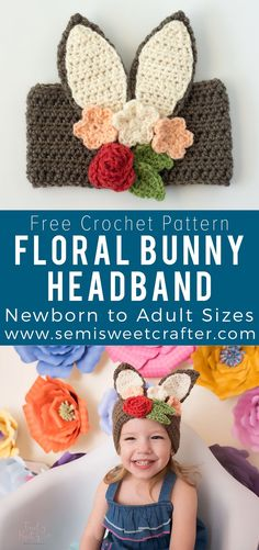 Cute Easter crochet floral headband with bunny ears. Free crochet pattern for newborn-adult sizes! #easter #crochet #headband