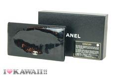 Auth CHANEL CC Logo Black Patent Leather Bi-fold Long Coin Purse Wallet Free Shi