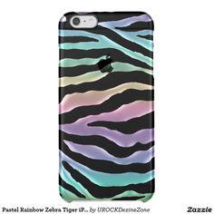 Pastel #Rainbow #Zebra Tiger #iPhone 6 Plus Case Uncommon Clearly™ Deflector iPhone 6 Plus Case  #zazzle