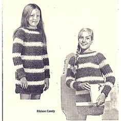 Girls striped pullover mini dress pattern on Big Knitting Needles -- This just might be one of those sweaters that you make her, that she just won't ever want to take off.