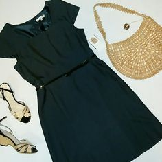25% off BUNDLES! NEW Navy Blue Aline Sheath Gorgeous new with tag lined dress. Comes with black faux croc skinny belt. Beautiful seam details LOWEST PRICE! Sandra Darren  Dresses