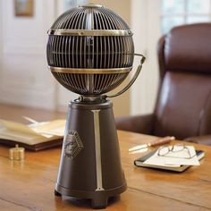 The Fargo 360 Degree Tabletop fan($288) is omnidirectional. Horizontal bladesdraw in airfrom the top and fling it in all directions