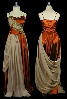 Orange-brown satin evening gown with beige silk chiffon draping and jeweled gold trim, c. 1930's.