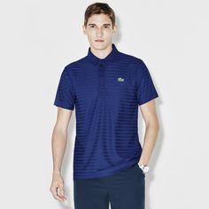 LACOSTE Men's SPORT Golf Striped Tech Jacquard Jersey Polo - varsity blue. #lacoste #cloth #