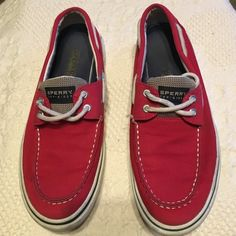 """Red Sperry Top-Siders; unisex Worn a few times & grown out of! Gently used condition; needs a little """"magic eraser"""" cleaning of white trim area. (Also fits men's size 9) Sperry Top-Sider Shoes Flats & Loafers"""