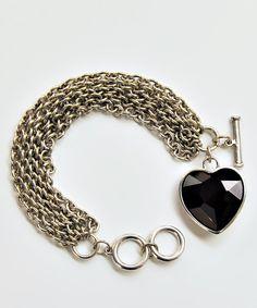 Silver & Black Heart Bracelet