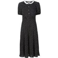 Saint Laurent dot print babydoll dress ($3,335) ❤ liked on Polyvore featuring dresses, black, straight dress, baby doll collar dress, collared babydoll dress, silk dress and doll collar dress