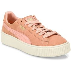 Puma Suede Platform Sneakers ($100) ❤ liked on Polyvore featuring shoes, sneakers, pink, sports trainer, suede shoes, pink platform sneakers, puma sneakers and puma shoes