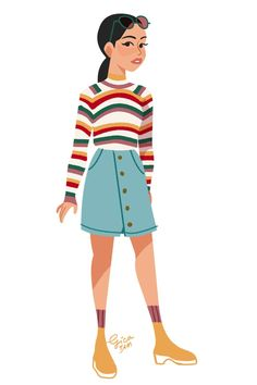 Lara Jean from To All the Boys I've Loved Before style steal; striped rainbow and white crop top sweater / cropped sweater, button down denim skirt Denim Skirt Outfits, Outfit Jeans, Jean Outfits, Casual Outfits, Cute Outfits, Lara Jean, Business Casual Jeans, Rainbow Sweater, Suspender Dress