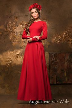 """Designer womens dresses Red Maxi with Long sleeves and fashionable neckline design from my collection """"Valkyrie"""" special occasion dress. Very beautiful and ele. Prom Dresses Long With Sleeves, Formal Dresses, Dress Long, Neckline Designs, Red Maxi, Modest Outfits, Ladies Dress Design, Special Occasion Dresses, Evening Dresses"""