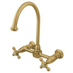 6-5//8 Polished Chrome Nuvo ES216C Elements of Design St Louis 2-Handle Wall Mount Down Spout Kitchen Faucet