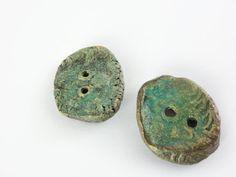 Artisan Ceramic Stoneware Button Pair by greybirdstudio on Etsy, £14.00