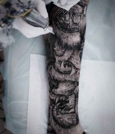 Lion Jaws Tattoo by Alexander Suvorov Lion Tattoo, Arm Tattoo, Sleeve Tattoos, Tattoo Sleeves, Bild Tattoos, Cute Tattoos, Picture Tattoos, Tattoo Photos, Lion Sleeve