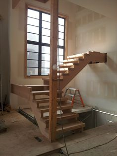 White Oak Stairs with Open Riser Dubai Architecture, Oak Stairs, Can Design, White Oak, Hockey, Bed, Projects, Furniture, Home Decor