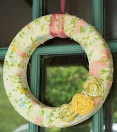 Pastel Fabric Roses Wreath made from vintage bed sheets. Sweet & soft.  I think I have that sheet.