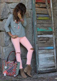 Love this outfit Look Boho Chic, Looks Chic, Casual Looks, Fall Outfits, Summer Outfits, Casual Outfits, Cute Outfits, Look Fashion, Fashion Outfits