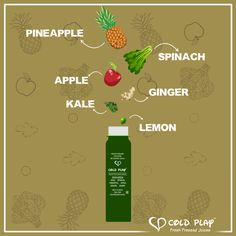 Our bottle of Detox Green is here to intoxicate you with the goodness of pineapple, spinach, apple, ginger, kale and lemon. #DeliveringGoodHealth #LetsColdPlay #Detox #ColdPlayJuices #Healthy #Fresh