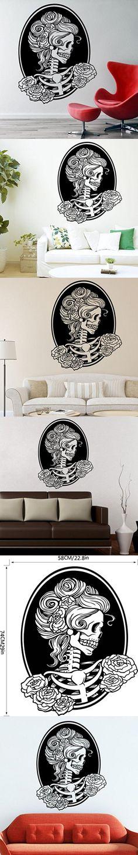 Binmer(TM) Halloween Skeleton Background Decorated Living Room Bedroom Wall Stickers Pary Decor (E)