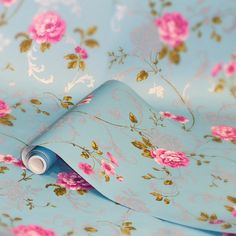 Northern Rose Blue / Pink Wallpaper by Graham and Brown