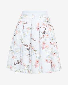 Oriental Blossom pleated skirt - Light Gray   Skirts   Ted Baker