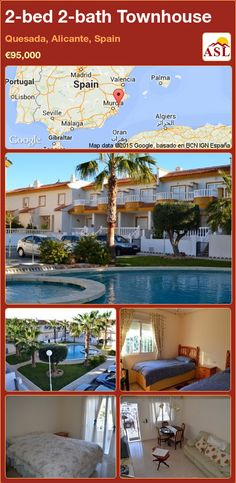 Townhouse for Sale in Quesada, Alicante, Spain with 2 bedrooms, 2 bathrooms - A Spanish Life Valencia, Double Patio Doors, Portugal, Front Gates, Alicante Spain, Family Bathroom, Two Bedroom, Townhouse, Terrace
