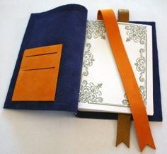 Hand bound notebook, Recycled leather diary, Leather handmade notebook, Placefor cards inside