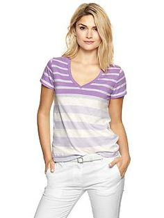 Essential variegated stripe V-neck tee - Easy & lightweight—the perfect fitting everyday tee just got softer.