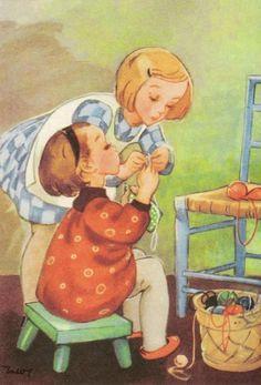 Vintage Books, Vintage Art, Childhood Images, Japanese Drawings, Fairytale Art, Art For Art Sake, Cartoon Pics, Children's Book Illustration, Christian Art