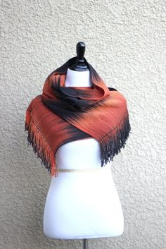 Woven scarf in black and red orange colors, gift for her