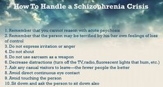 Excellent advice on how to handle a schizophrenic crisis. Mental Health Crisis, Mental Health Quotes, Schizophrenia Quotes, Mental Illness Help, Schizoaffective Disorder, Nursing School Tips, Psychology Quotes, Mental Disorders, Psychiatry
